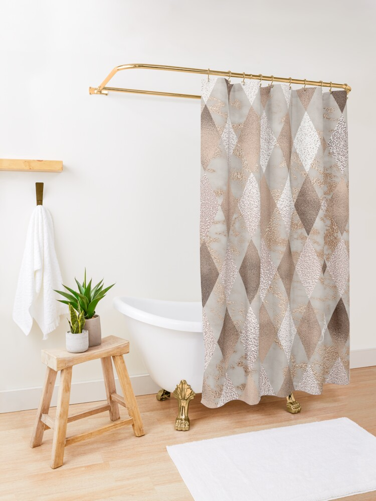 Alternate view of Small Copper and Blush Rose Gold Marble Argyle Shower Curtain