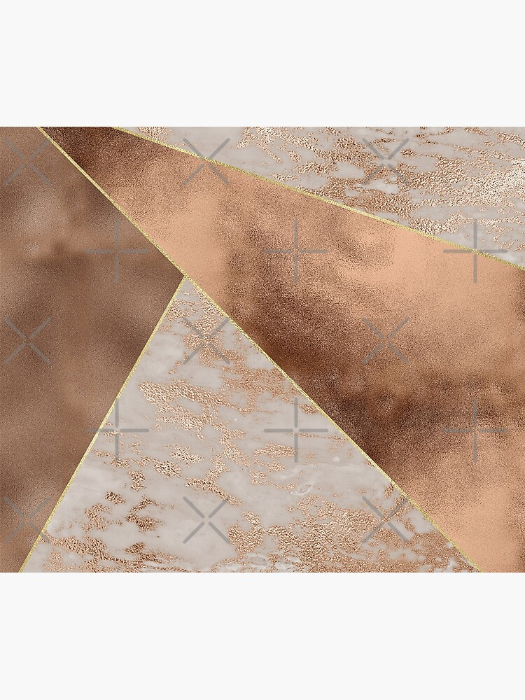 Copper Foil and Blush Rose Gold Marble Triangles by UtArt