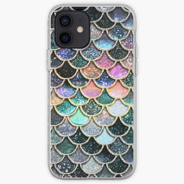 Silver and Metal Sparkle Faux Glitter Mermaid Scales iPhone Soft Case