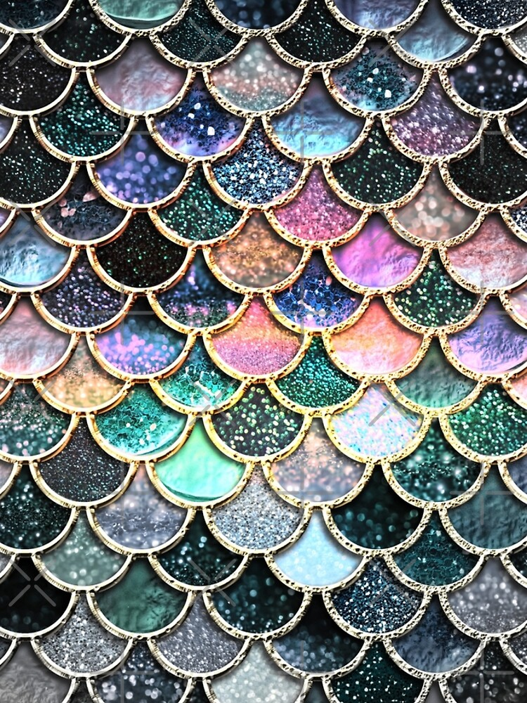 Silver and Metal Sparkle Faux Glitter Mermaid Scales by UtArt