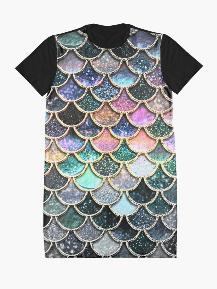 Alternate view of Silver and Metal Sparkle Faux Glitter Mermaid Scales Graphic T-Shirt Dress