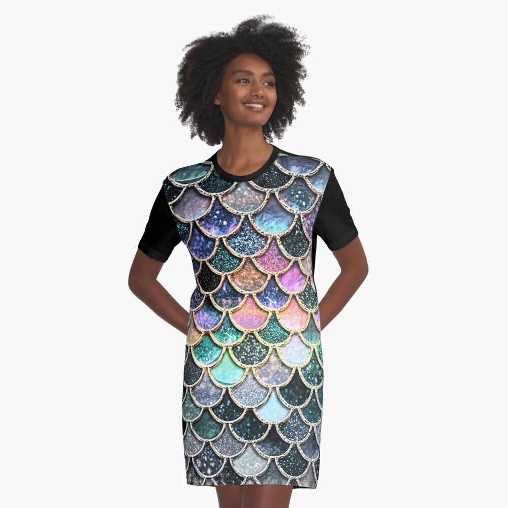 Silver and Metal Sparkle Faux Glitter Mermaid Scales Graphic T-Shirt Dress