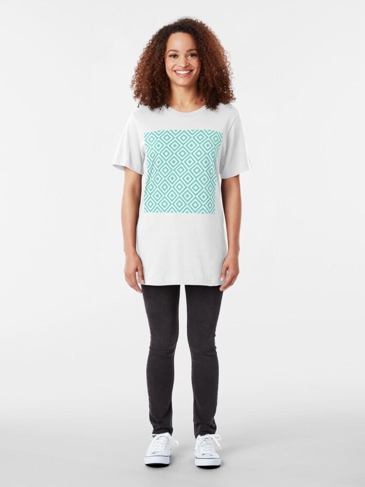 Alternate view of Geometric Pattern: Diamond Strobe: Blue Slim Fit T-Shirt