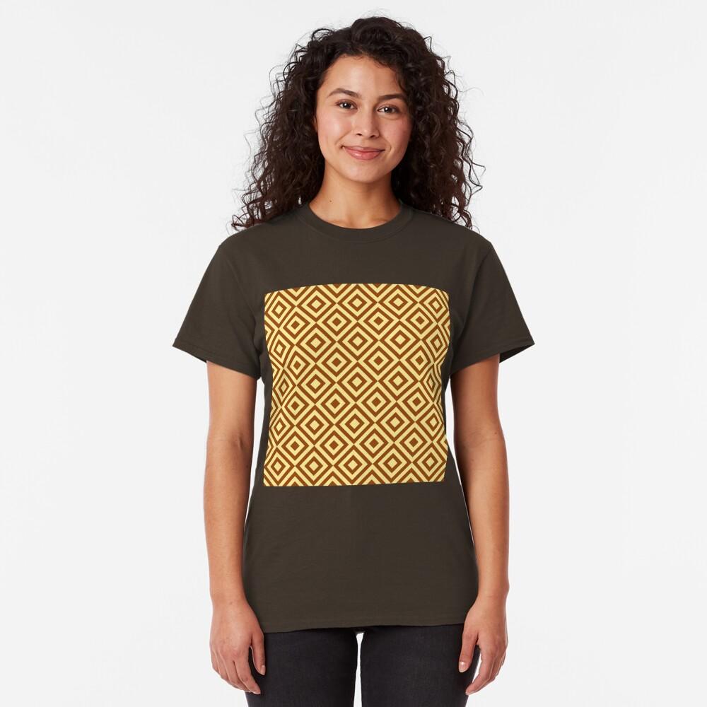 Geometric Pattern: Diamond Strobe: Brown Classic T-Shirt