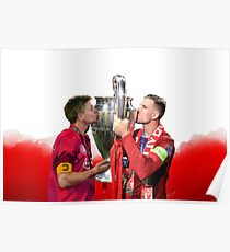 Steven Gerrard x Henderson Liverpool FC Champions League trophy Poster