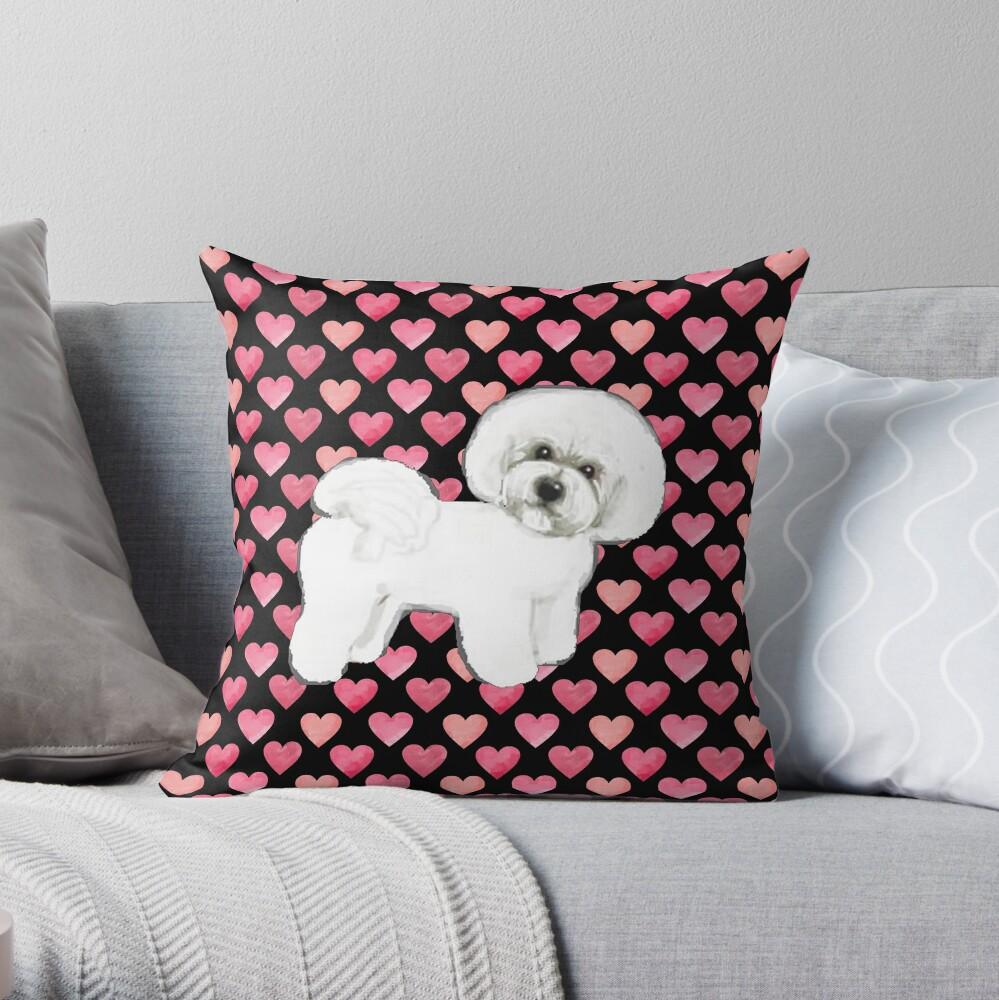 Bichon Frise Valentines Hearts Throw Pillow