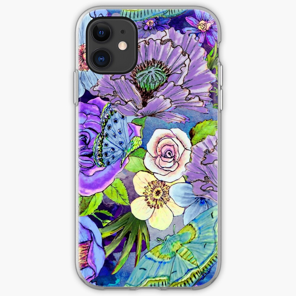 Blue and lilac floral, Smoky blue Blooms  iPhone Case & Cover