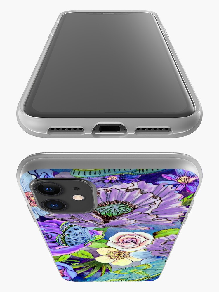 Alternate view of Blue and lilac floral, Smoky blue Blooms  iPhone Case & Cover