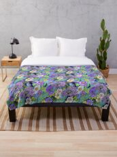Blue and lilac floral, Smoky blue Blooms  Throw Blanket