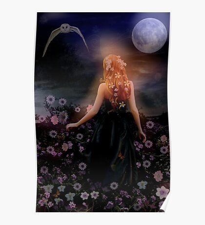 The dark night glows, the moon light flows. Poster