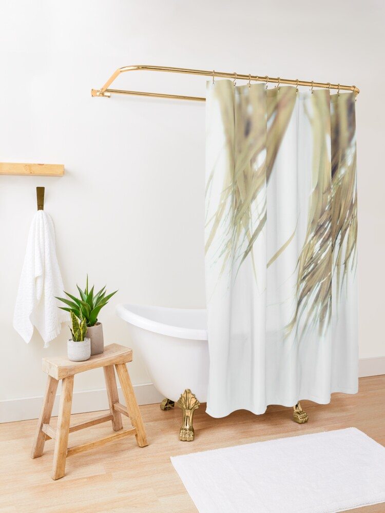 Alternate view of Beach details Palm leaves shade Shower Curtain