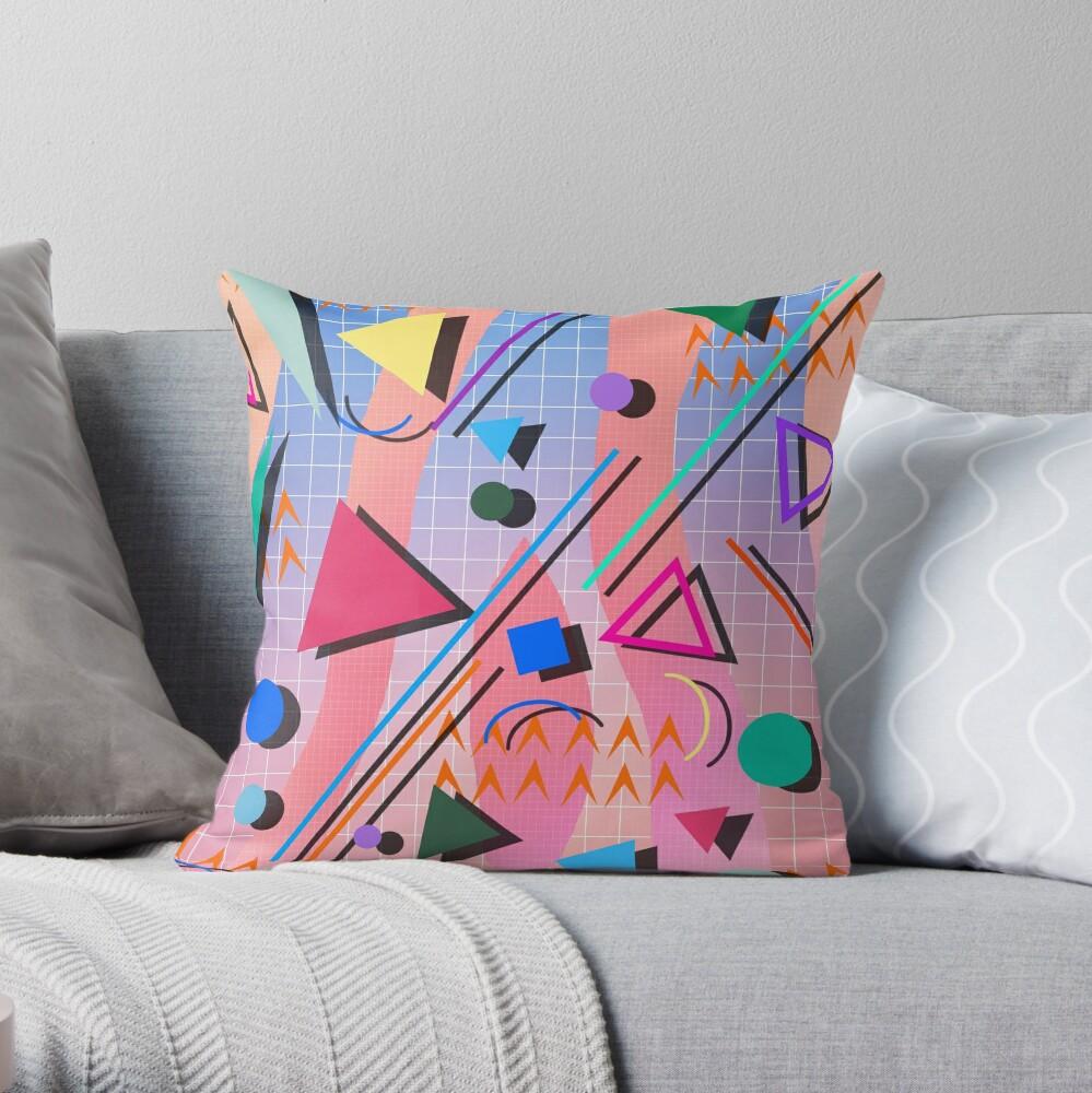 80s pop retro pattern 2 Throw Pillow