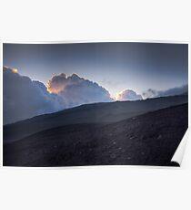 Blue sunset - Hills of volcano Etna Poster