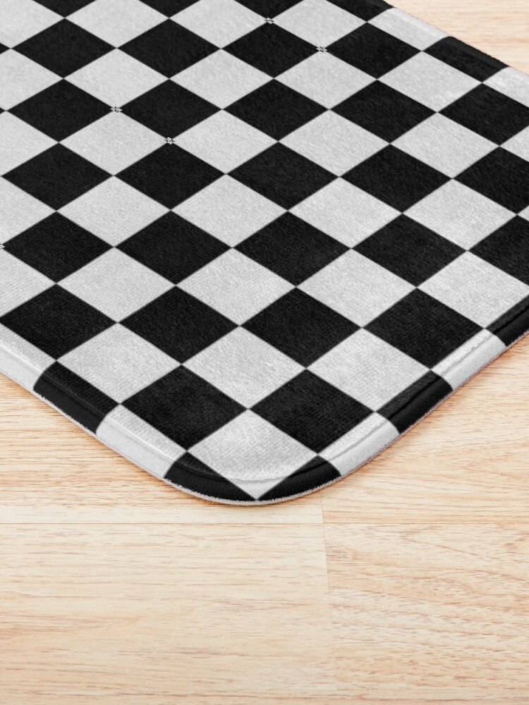 Alternate view of CHECK, Pattern, Checks, Checkered, Black & white. Bath Mat