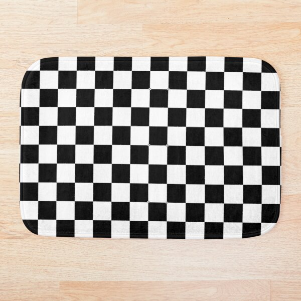 CHECK, Pattern, Checks, Checkered, Black & white. Bath Mat
