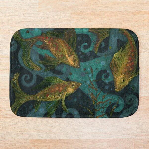 Golden Fish, Underwater, Black Teal Yellow Bath Mat