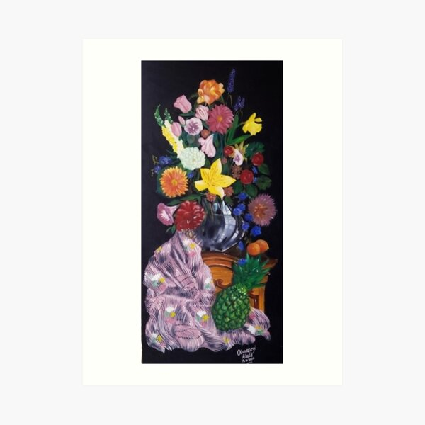 Aso-Oke and flowers- still-life Art Print