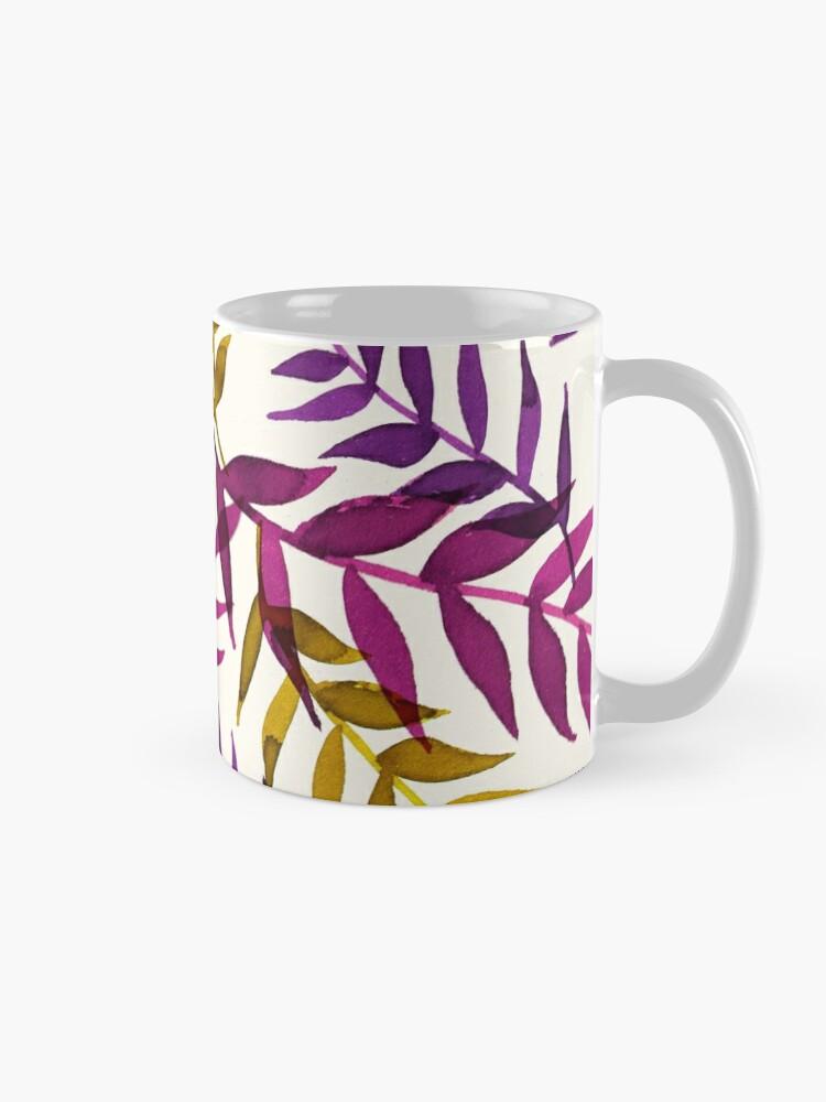 Alternative Ansicht von Blätter lila gelb Tropisch Natur Muster Tasse