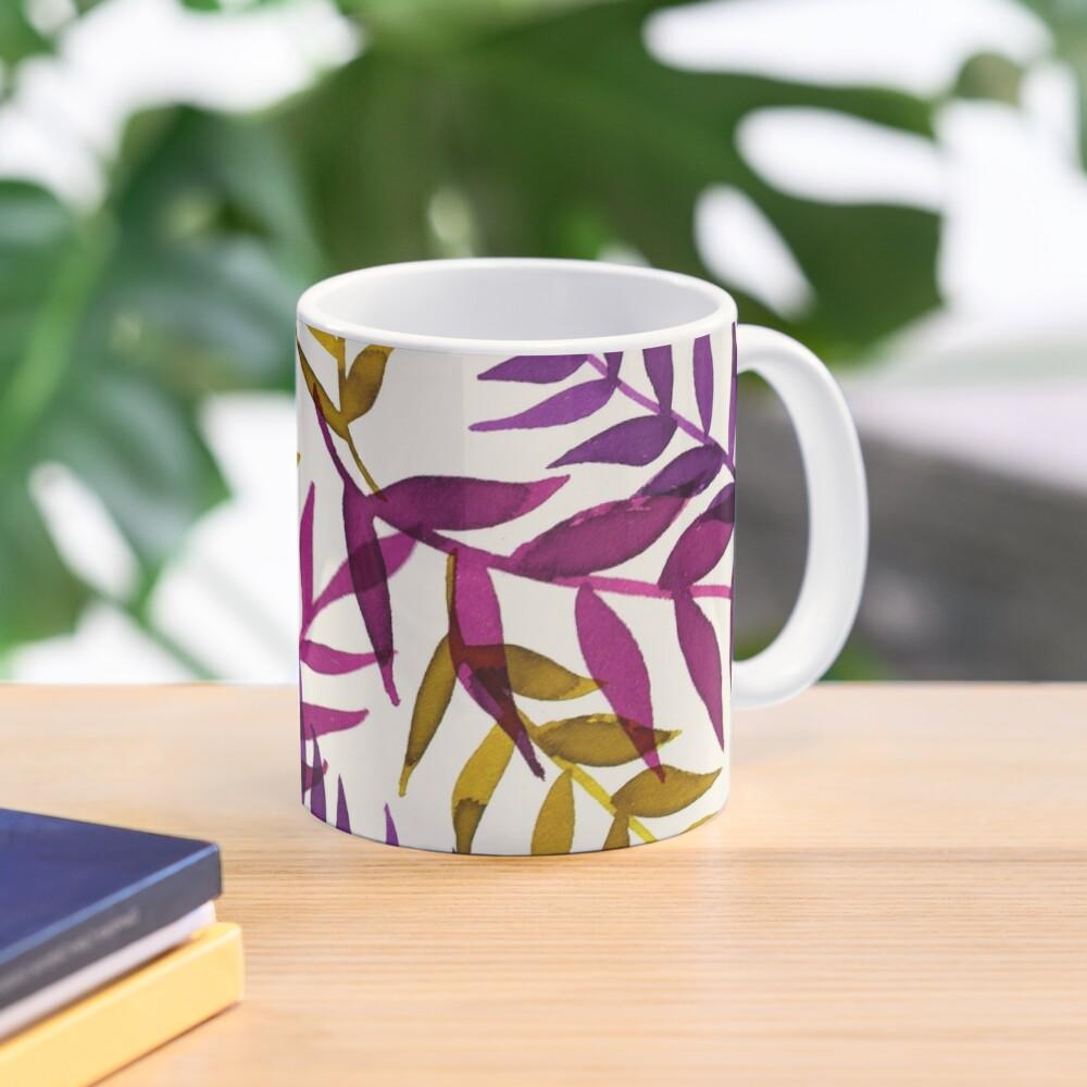 Blätter lila gelb Tropisch Natur Muster Tasse