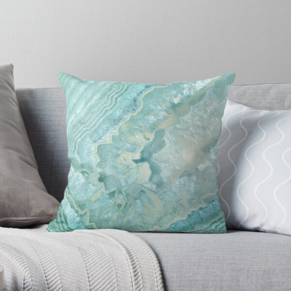 """""""Aquamarine Pastel and Teal Agate Crystal"""" Throw Pillow"""