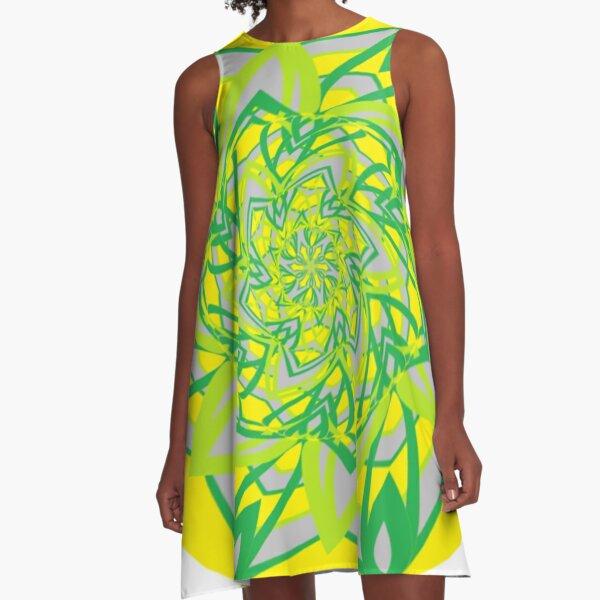 #Abstract, #proportion, #art, #flower, pattern, bright, decoration, kaleidoscope, ornate, creativity A-Line Dress