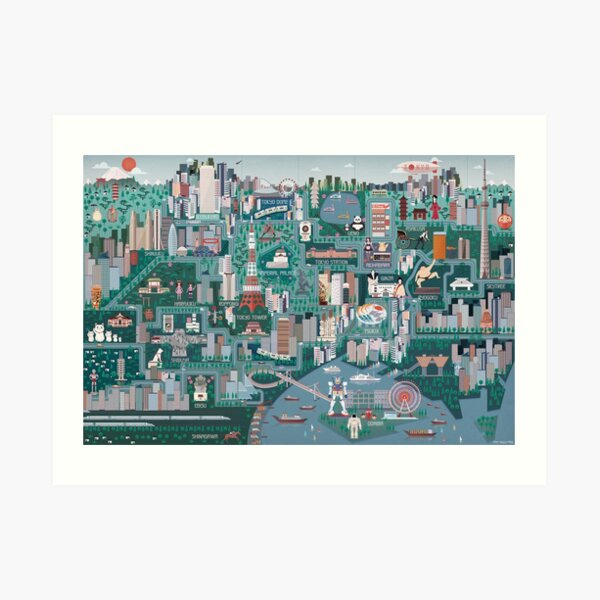 Tokyo Illustrated Map Art Print