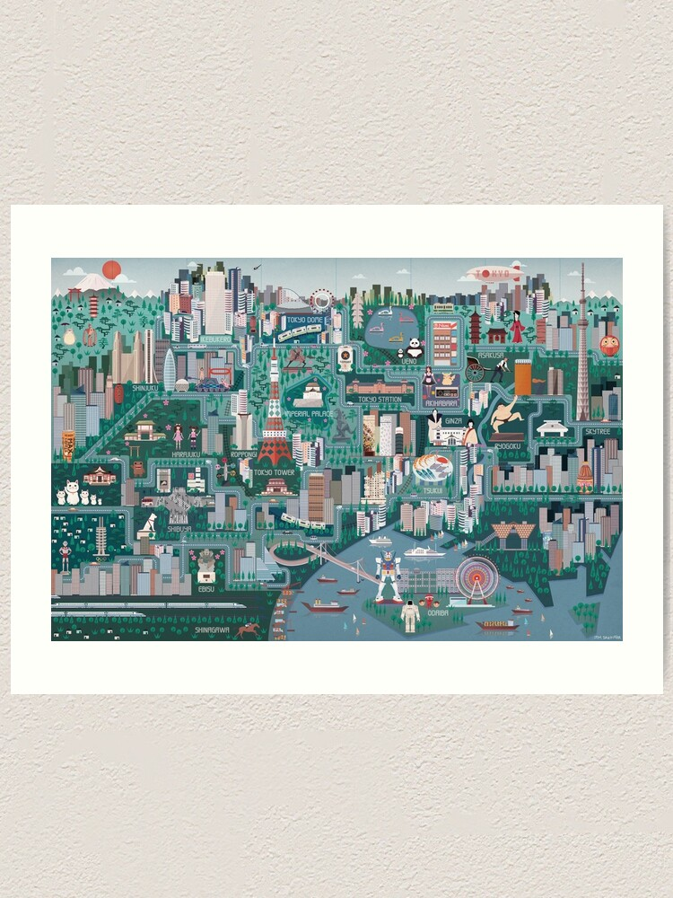 Alternate view of Tokyo Illustrated Map Art Print