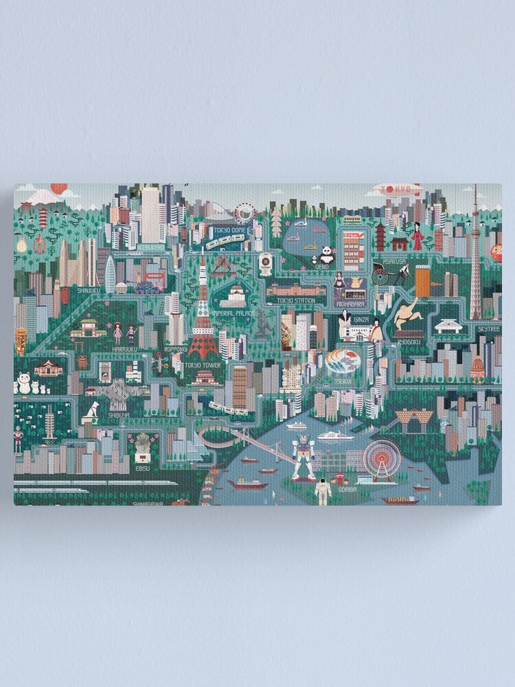 Alternate view of Tokyo Illustrated Map Canvas Print