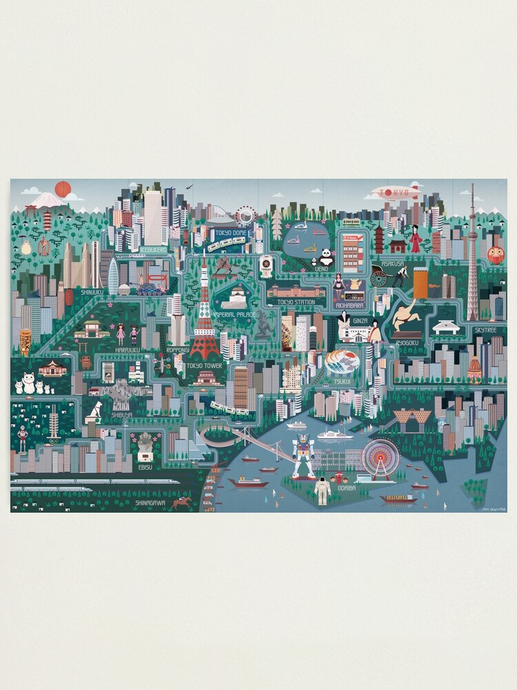 Alternate view of Tokyo Illustrated Map Photographic Print