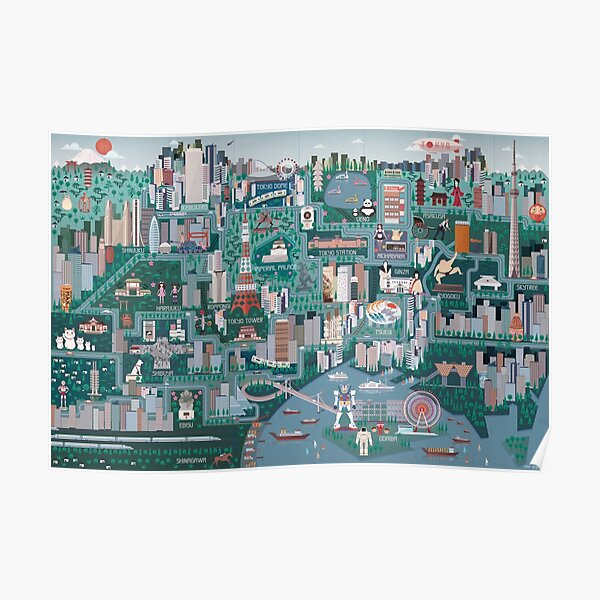 Tokyo Illustrated Map Poster