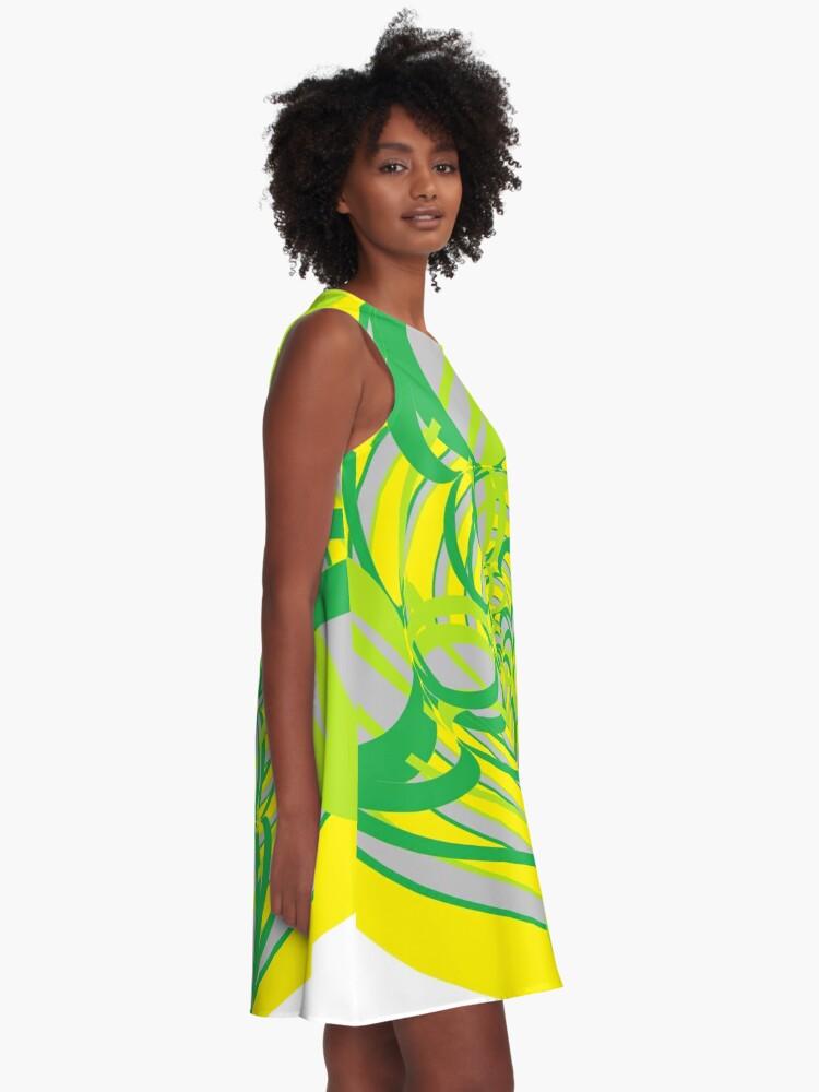 Alternate view of #Abstract, #proportion, #art, #flower, pattern, bright, decoration, kaleidoscope, ornate, creativity A-Line Dress