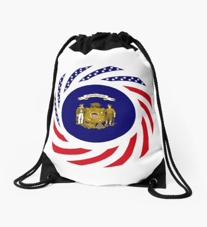 Wisconsin Murican Patriot Flag Series Drawstring Bag