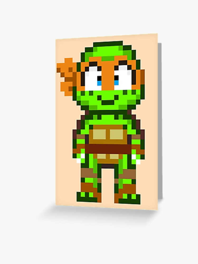 Mikey Tmnt 2012 Mini Pixel Greeting Card By Geekmythology Redbubble