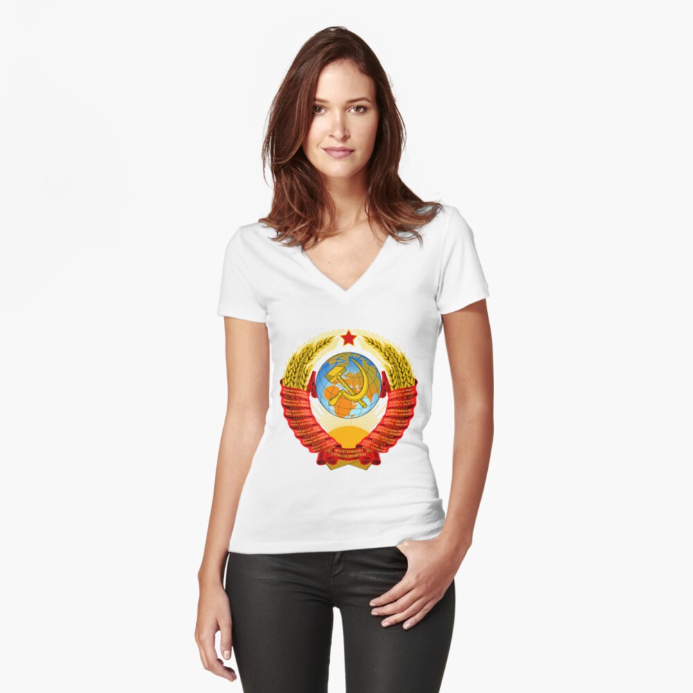 History of the Soviet Union (1927–1953) State Emblem of the Soviet Union Fitted V-Neck T-Shirt