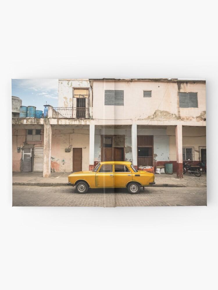 Alternate view of Bright yellow vintage car in La Havana, Cuba. Hardcover Journal