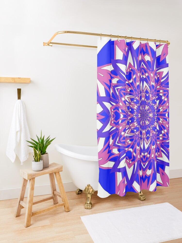 Alternate view of #Abstract, #proportion, #art, #flower, pattern, bright, decoration, kaleidoscope, ornate, creativity Shower Curtain