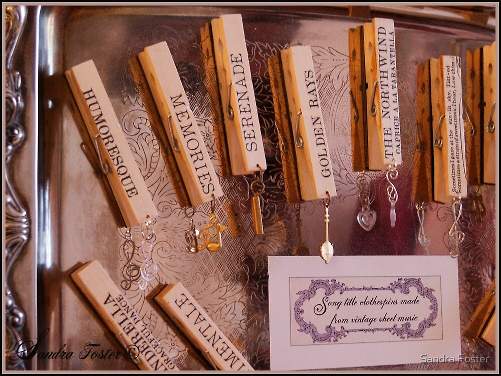 Vintage Song Titles On Mothers Clothespins by Sandra Foster