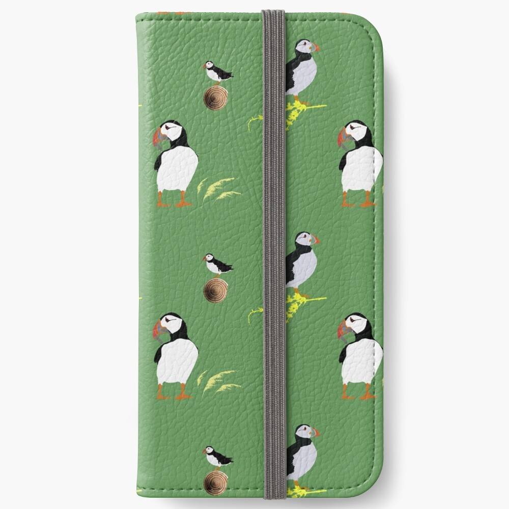 Puffins in green iPhone Wallet