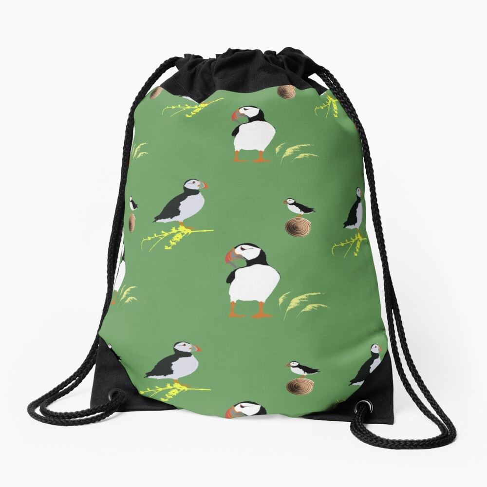 Puffins in green Drawstring Bag