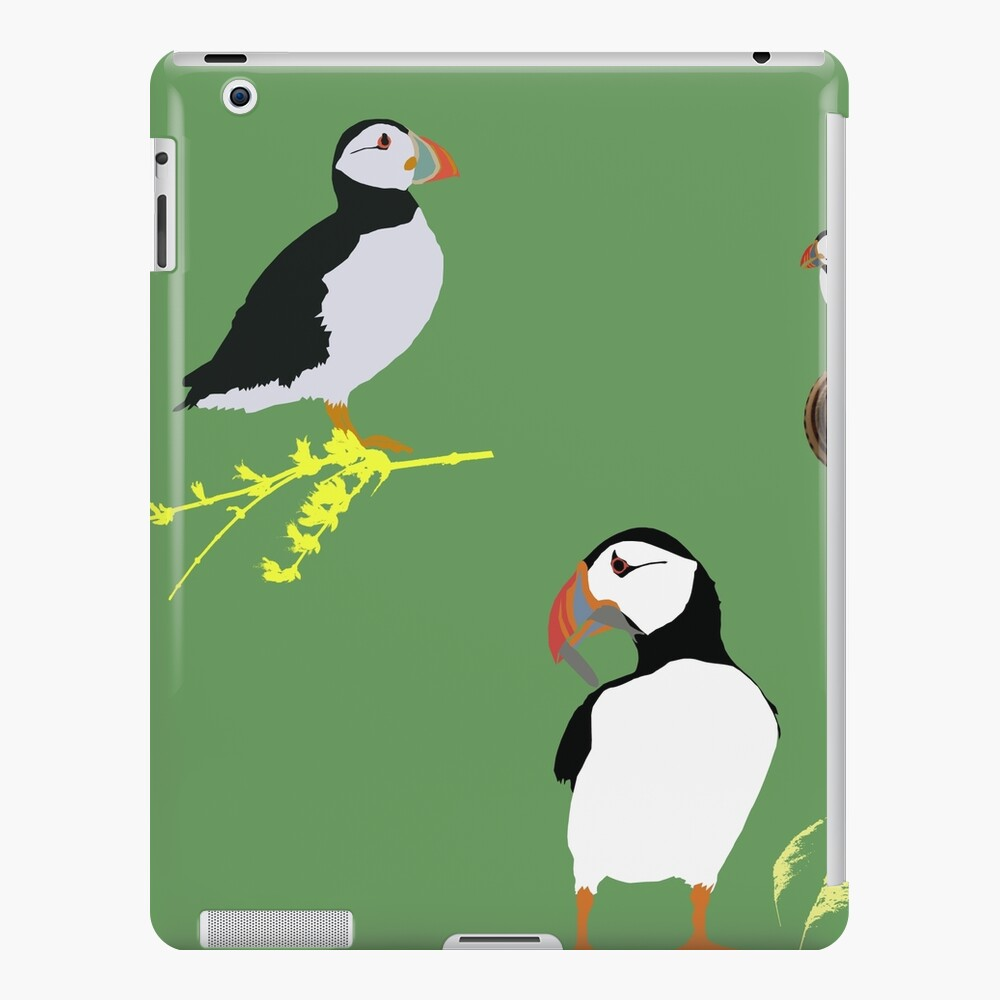 Puffins in green iPad Case & Skin