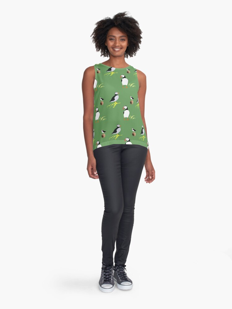 Alternate view of Puffins in green Sleeveless Top