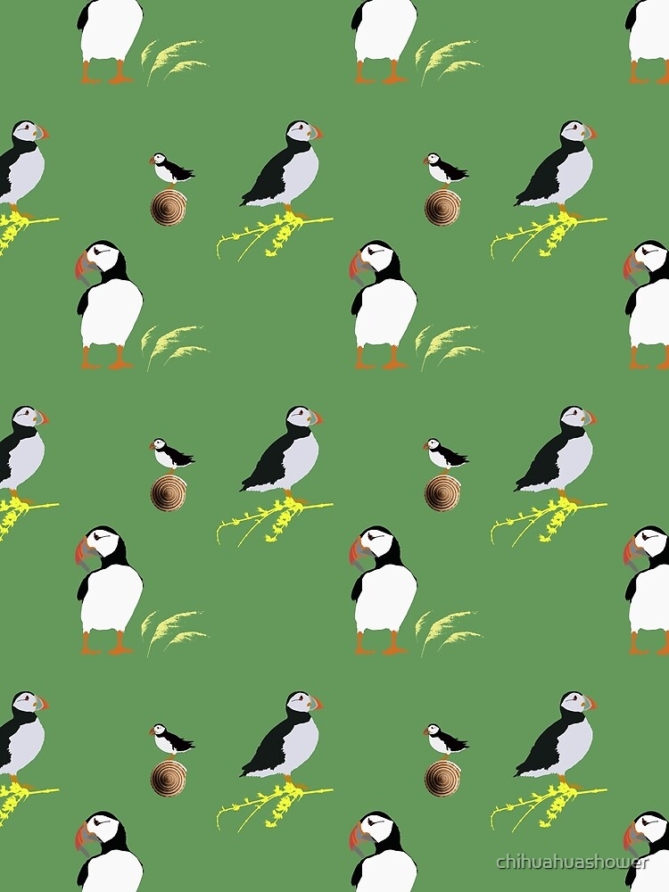 Puffins in green by chihuahuashower