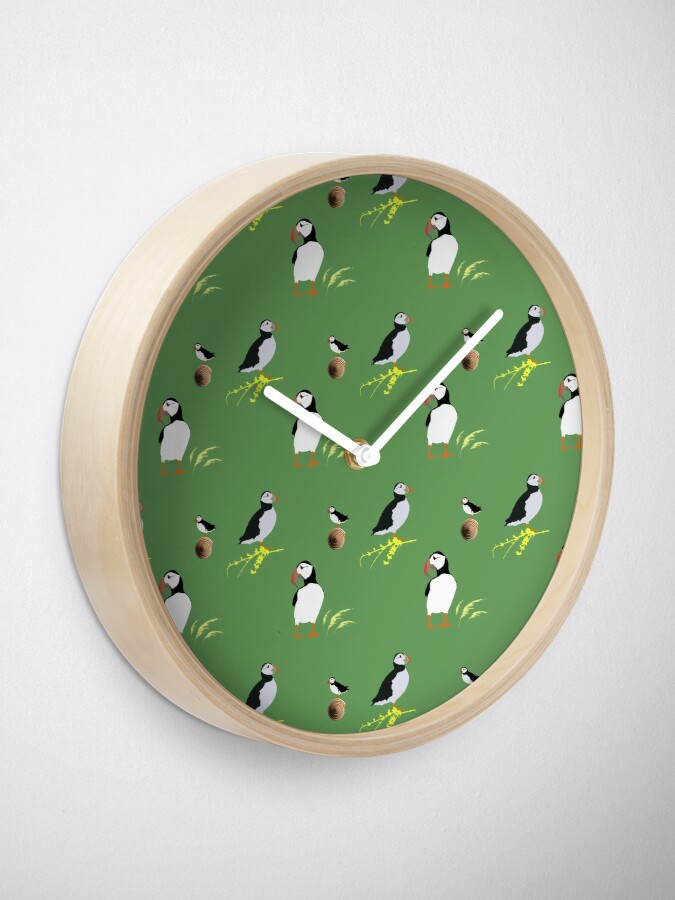 Alternate view of Puffins in green Clock