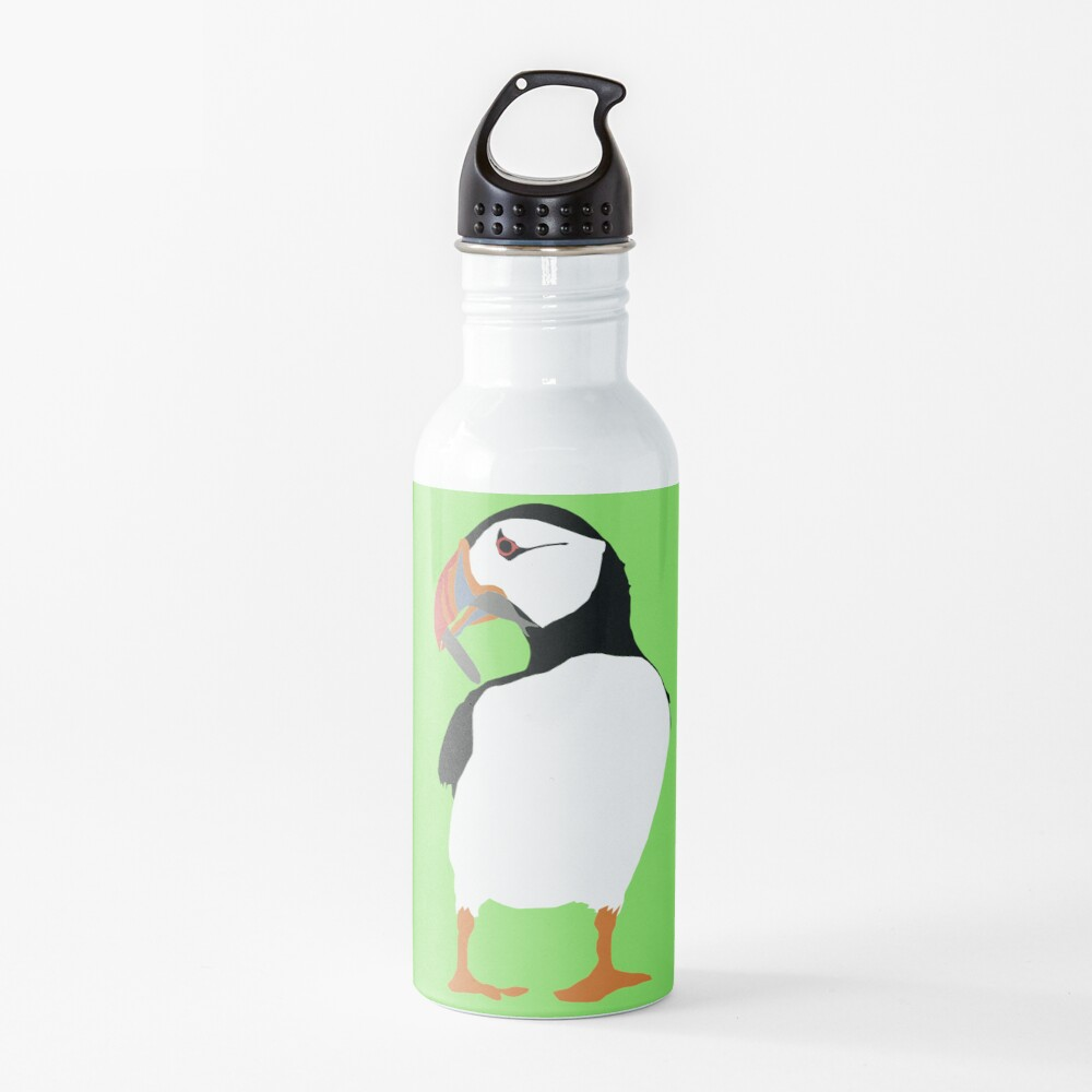 Puffins in green Water Bottle