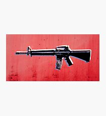 M16 Assault Rifle on Red Photographic Print