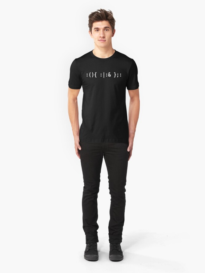 Alternate view of Bash Fork Bomb - White Text for Unix/Linux Hackers Slim Fit T-Shirt