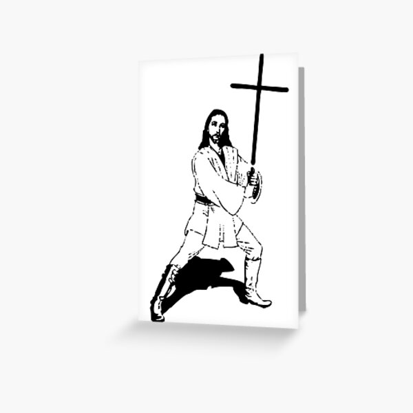 Jesus with Saber T-Shirt Greeting Card
