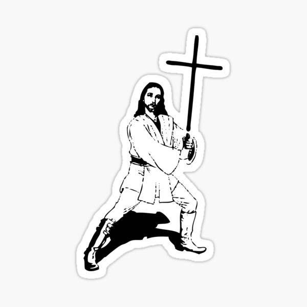 Jesus with Saber T-Shirt Sticker