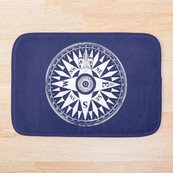 Nautical Compass | Vintage Compass | Navy Blue and White |  Bath Mat