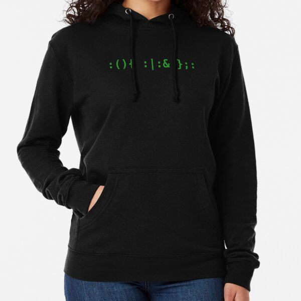 Bash Fork Bomb - Green Text for Unix/Linux Hackers Lightweight Hoodie